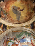 Bérgamo - fresco de Cristo resucitado de la capilla lateral en bianco del pozzo del al de Micaela de la iglesia Fotografía de archivo libre de regalías