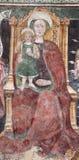 Bérgamo - fresco de la Virgen María del bianco del pozzo del al de Micaela de la iglesia. Fotografía de archivo