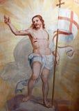 Bérgamo - fresco resucitado de Jesús del bianco del pozzo del al de Micaela de la iglesia. Fotografía de archivo