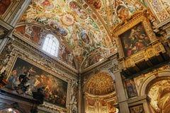 Bérgamo, Italia - 18 de agosto de 2017: Di Santa Maria Maggiore, interior adornado de la basílica del ` s de Bérgamo del oro Fotografía de archivo libre de regalías