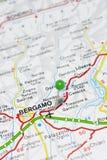 Bérgamo Italia en un mapa Imagen de archivo