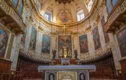 Bérgamo - presbiterio de los Dom con los frescos a partir. del centavo el 18 de más pintores. Imagen de archivo libre de regalías