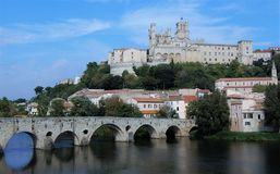 Béziers. Sant-Nazaire ,view from The river Stock Photo