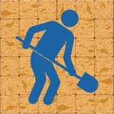 Bêcheur avec l'icône de pelle illustration libre de droits
