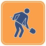 Bêcheur avec l'icône de pelle illustration de vecteur
