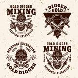Bêcheur d'or, emblèmes d'industrie d'extraction de ressource illustration libre de droits