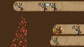 Bêcheur de mine d'or d'art de pixel d'animation banque de vidéos