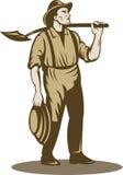 Bêcheur de mineur, de prospecteur ou d'or illustration stock