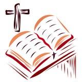 A Bíblia aberta na tabela e na cruz ilustração do vetor