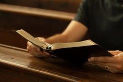 A Bíblia da leitura fotografia de stock