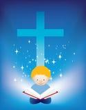 A Bíblia da leitura da criança ilustração stock