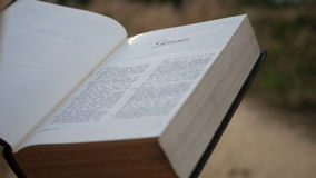 A Bíblia Sagrada fêmea da leitura no capítulo da gênese video estoque