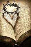 A Bíblia santamente e a coroa de espinhos imagens de stock royalty free