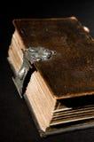 A Bíblia velha no preto Fotografia de Stock Royalty Free