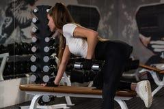 Bíceps bonito novo dos trens da mulher no gym moderno fotos de stock