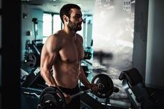 Bíceps do exercício do homem com barbell imagens de stock royalty free