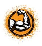Bíceps Flex Arm Rusty Gym Sign Elemento del entrenamiento y del diseño del Grunge de la aptitud stock de ilustración