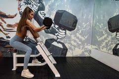 Bíceps 'sexy' novo dos trens da mulher no gym moderno imagem de stock