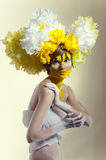 B�eauty shot with yellow headdress Royalty Free Stock Images