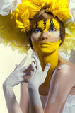 B�eauty shot with yellow headdress Stock Photos
