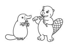 Bóbr i platypus szczotkujemy ich zęby Zdjęcie Royalty Free