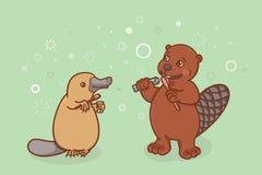 Bóbr i platypus szczotkujemy ich zęby Fotografia Royalty Free