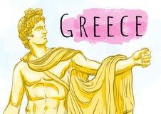 Bóg Apollon Mitologiczny bohater antyczny Grecja Krajowy skarb dawność Pociągany ręcznie piękna wektorowa grafika odizolowywająca ilustracji