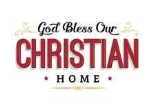 Bóg Błogosławi Nasz Chrześcijańskiego dom Obraz Royalty Free