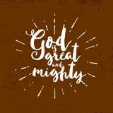 Bóg jest wielki i możny literowanie ilustracja wektor