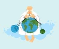 Bóg obsiadanie na chmury i dzianiny planety ziemi Tworzenie ziemia ilustracji