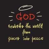 Bóg przerabia świat od kawałków w pokój ilustracja wektor