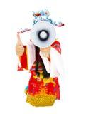 Bóg trzyma kciuk i megafon up bogactwo Zdjęcia Royalty Free