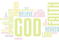 Bóg wiary słowa chmura ilustracja wektor
