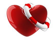Bóia do coração e de vida em um fundo branco Fotografia de Stock
