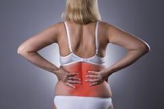 Ból pleców, cynaderki rozognienie, obolałość w kobiety ` s ciele zdjęcie stock