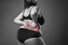 Ból pleców, gruba kobieta z backache, z nadwagą żeński ciało na szarym tle obraz royalty free