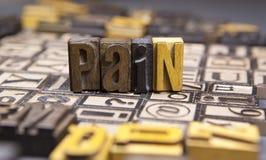 Ból w drewnianym typeset Obraz Stock