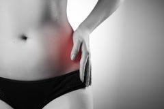 Ból w lewej stronie Ból w kobiety ciele obrazy stock