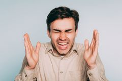 Bólowa agonia cierpi emocjonalnego stresu mężczyzna wrzask Obraz Royalty Free