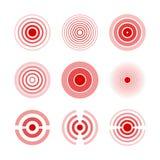 Bólowa czerwień dzwoni zaznaczać bolesne części ciała, szyję, kości, mięsień i migrenę kobiety i mężczyzna, Medyczny wektoru set ilustracji