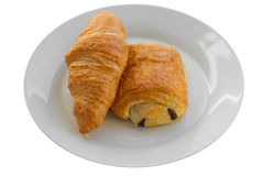 Bólowy au Chocolat i Croissant  Zdjęcie Stock