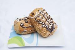 Bólowy au chocolat na talerzu Fotografia Royalty Free