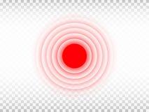 Bólowy czerwony okrąg na przejrzystym tle Bolący miejsce szablon Medycyna projekta element dla reklamy lub ilustracja wektor