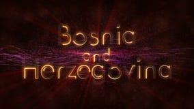 Bósnia e Herzegovina - animação dando laços brilhante do texto do nome de país