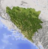 Bósnia e Herzegovina, mapa de relevo protegido Imagens de Stock