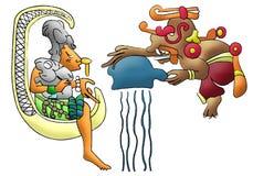 bóstwo chaac chel bóstwo ix majski ilustracja wektor