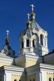 Bóveda de la iglesia ortodoxa con la cruz Fotografía de archivo libre de regalías