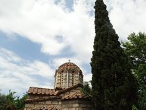 Bóveda de piedra de la iglesia ortodoxa griega imagen de archivo