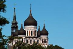 Bóvedas de Alexander Nevsky Orthodox Cathedral y chapitel de St Mary Church en la ciudad vieja de Tallinn, Estonia Fotografía de archivo libre de regalías