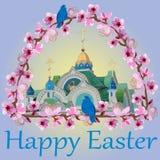 Bóvedas de oro de la iglesia contra el cielo en un marco de ramas florecientes rosadas delicadas y las palabras de Pascua feliz libre illustration